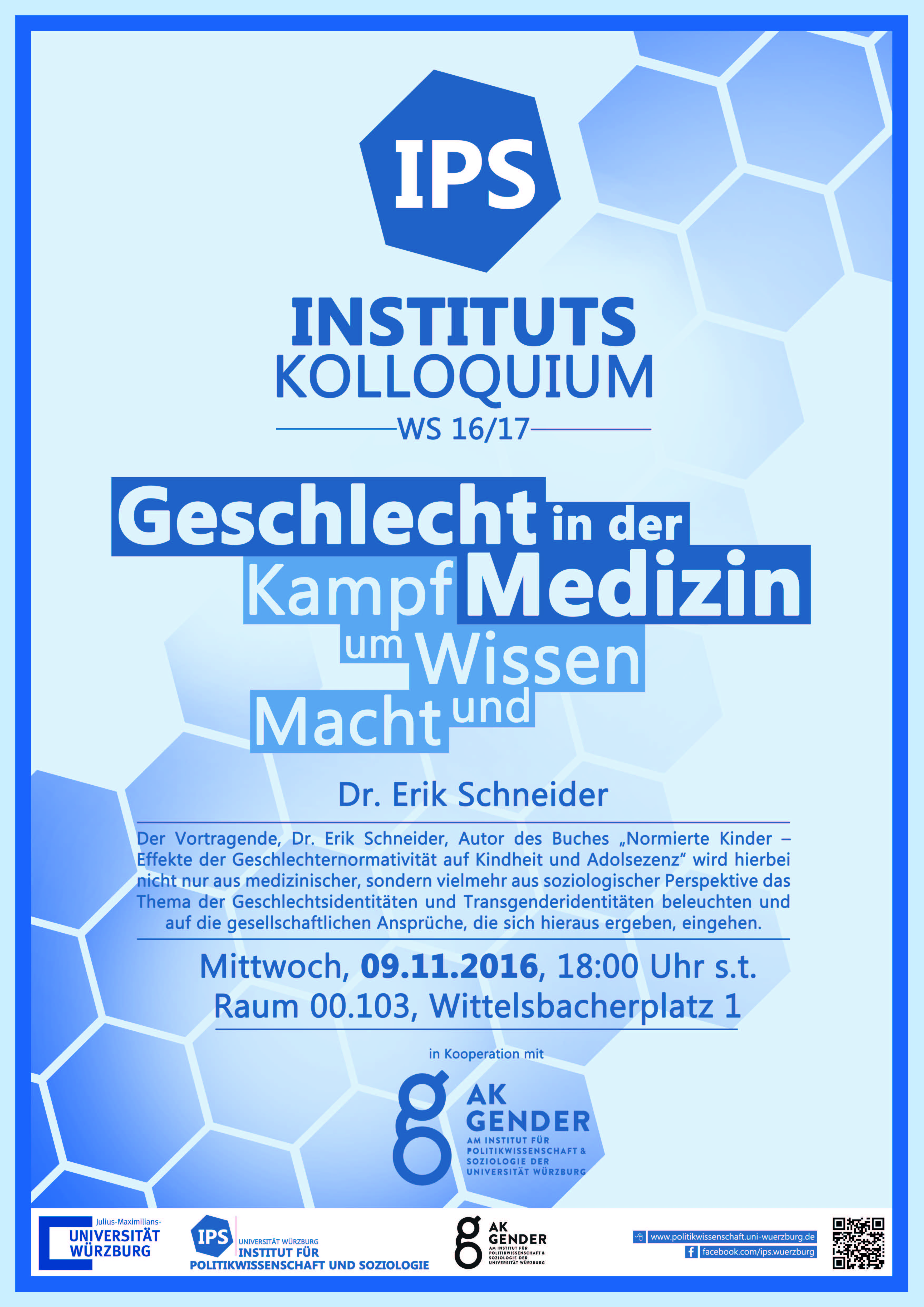 Anzeige zum Instituts Kollolquium - Geschlecht in der Medizin - Kampf um Wissen und Macht